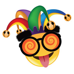 April Fools Day jester hat, silly glasses and mustache emoticon design. EPS 10 vector.