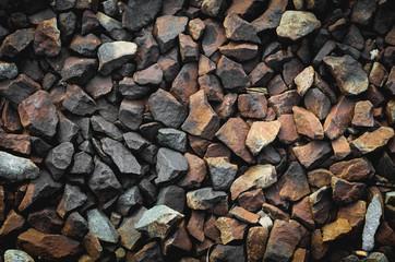 texture of gravel stone on railway tracck.