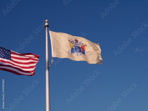 Quot New Jersey State Flag Waving With American Flag Waving