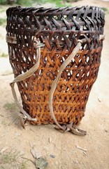 Braided bamboo-backpack basket. Lanten tribe-Nam Ha conserrvation area-Luang Namtha province-Laos-3545