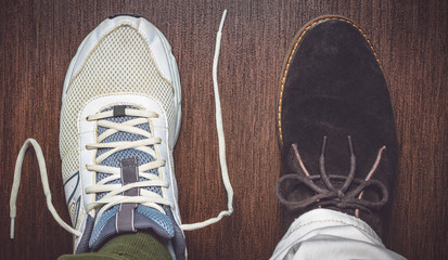 Opposing shoe styles
