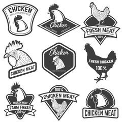 Set of Chicken meat labels. Design elements for logo, label, emblem, sign. Vector illustration