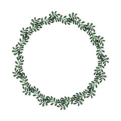 Herbal Wreath With Watercolor Deep Green Leaves