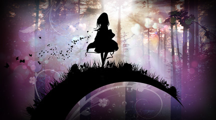 Evening in the magical forest silhouette art photo manipulation