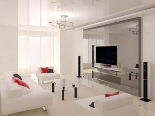 Modern bright living room with a modern modern furniture.