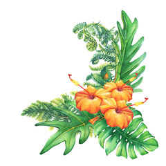 Ilustration of a bouquet with yellow-red hibiscus flowers and tropical plants. Hand drawn watercolor painting on white background.