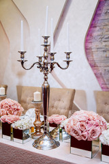 Luxuriously decorated wedding table