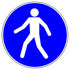 shas82 SignHealthAndSafety shas - German / Gebotszeichen: Fußgängerweg benutzen - english / mandatory action sign: pedestrians must use this route - xxl g5138