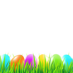 Easter background with colorful eggs, grass. Vector illustration.