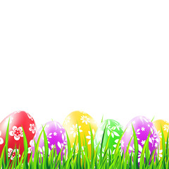 Easter background with grass and colorful eggs with pattern. Vector illustration.