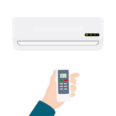 Split system air conditioner.Realistic conditioner with hand holding remote control. illustration isolated on white background.