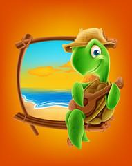 turtle cartoon on the beach