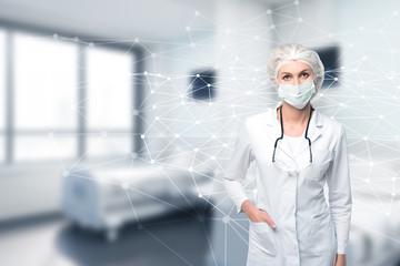 Woman doctor and molecule model, ward