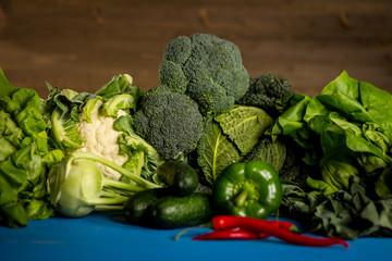 Bio Healthy food. Various of Vegetables on wood. Bio Healthy food, herbs and spices. Organic vegetables on wood