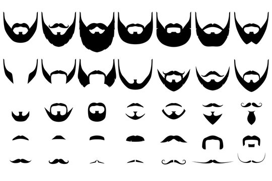 Set of isolated vector facial hair styles on white background. Beards and mustaches types big collection. Silhouette vintage beard and mustache. Hipster style emblems, icons, labels.