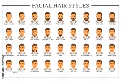 facial hair styles pictures quot beard styles guide hair types vector illustration 1746 | 500 F 141918006 yt9yOfr45mquFvXAtpCzvPHVE1uJ33Or