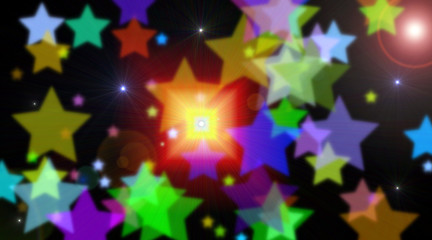 riflessi di stelle colorate