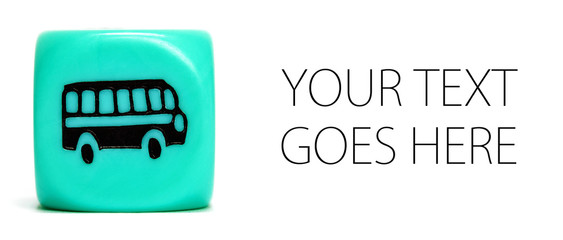 Turquoise dice depicting bus, card