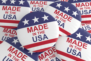 Business Buttons: Pile of US Flag Made In The USA Badges, 3d illustration