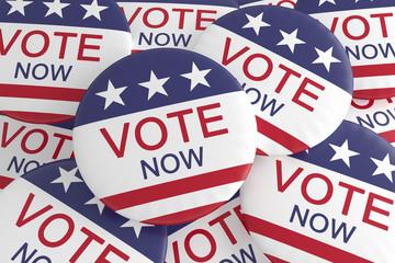 USA Politics Election Buttons: Pile of US Flag Vote Now Badges, 3d illustration