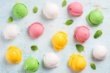Colorful ice cream balls.
