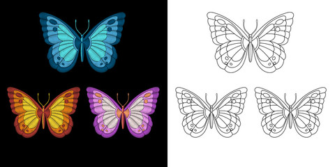 Embroidery butterfly design. Collection of fancywork elements for patches and stickers. Coloring book page with a set of three butterflies.