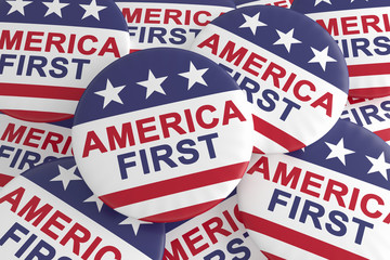 USA Politics Concept Badges: Pile of America First Slogan Buttons With US Flag, 3d illustration