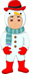 cute boy cartoon with snowman costume