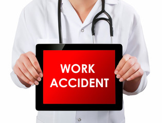 Doctor showing digital tablet screen.Work Accident