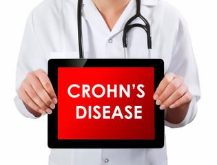 Doctor showing digital tablet screen.Crohn disease