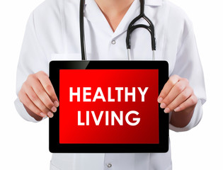 Doctor showing digital tablet screen.Healthy Living