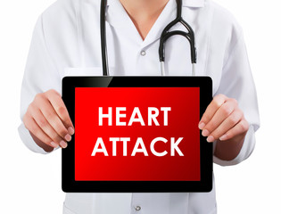 Doctor showing digital tablet screen.Heart Attack
