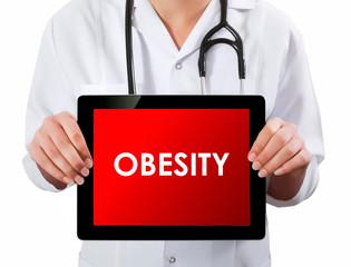 Doctor showing digital tablet screen.Obesity