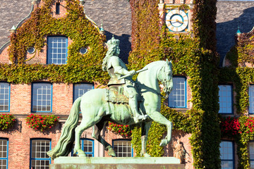 Duke Jan Wellem (Johann Wilhelm) monument in front of the townhall in Dusseldorf, Germany. The equestrian statue was erected in 1711. Wall mural