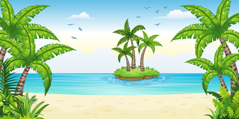 Illustration of a tropical coastal landscape with isle