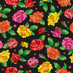 Seamless pattern with spring flowers in stained glass style, flowers, buds and leaves of  multi colored roses on a dark background