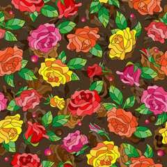 Seamless pattern with spring flowers in stained glass style, flowers, buds and leaves of  multi colored roses on a abstract background