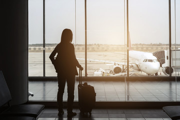 silhouette of traveler at the airport
