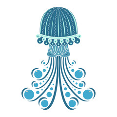 Cartoon jellyfish, isolated on white background. Vector illustration and colorful book page design.