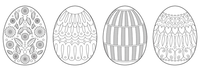 Collection of Easter eggs. Coloring book page for adults with zentangle elements.