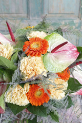 Wall Mural - Flower background with gerbera and carnation flowers.