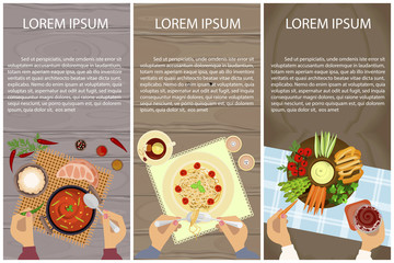 Set of Persons are eating, top view. Vegetarian Menu for breakfast, lunch or dinner. Vector illustration eps 10