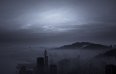 Misty & Cloudy view at Hong Kong