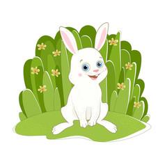 Цветная иллюстрация с изображением сидящего симпатичного белого кролика на фоне зелёной травы и жёлтых цветочков.
