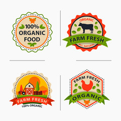 Flat style of bio organic eco healthy food label logo template and vintage vegan farm element in orange green color badge vector illustration.