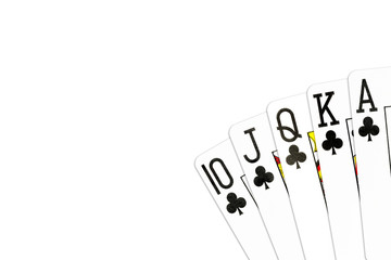 poker hand royal flush in clubs isolated on white background