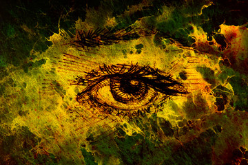 Drawing of woman eye on graphic background with structure effect.
