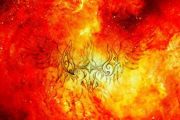 Drawing of ornamental phoenix in cosmic background, fire effect.