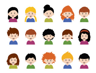 Big set of vector kids avatars,cute cartoon boys and girls faces with various emotions