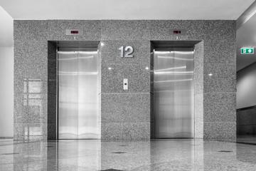 Modern elevator and granite tile., Interior design